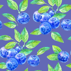 Seamless pattern of a blueberry.Forest berry.Watercolor hand drawn illustration.Violet background.