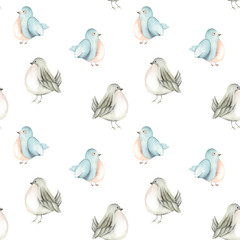 Seamless pattern of the watercolor cute birds, hand drawn on a white background