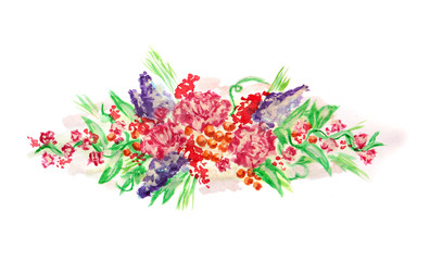Watercolor painting design with flowers isolated on white