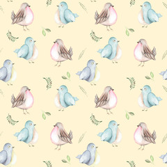 Seamless pattern of the watercolor birds and forest plants, hand drawn on a tender pink background