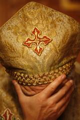 Orthodox Coptic priest praying, Chatenay-Malabry, Hauts-de-Sine, France, Europe