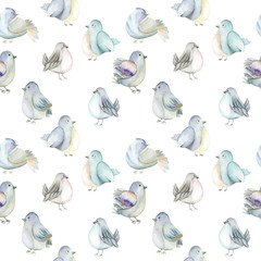 Seamless pattern of the watercolor blue birds, hand drawn on a white background
