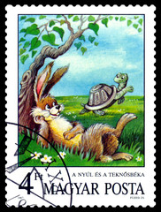 Postage stamp.  Tortoise and  Hare.