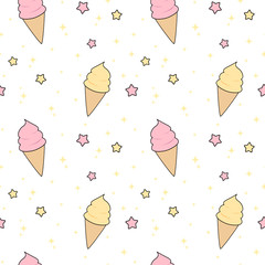 cute pink and yellow cartoon ice cream with stars seamless vector pattern background illustration