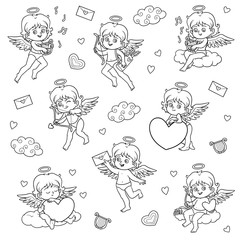 Set of angels, characters of Valentine's Day