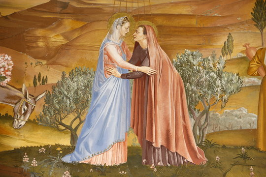 Painting of the Visitation in the Visitation church in Ein Kerem, Israel