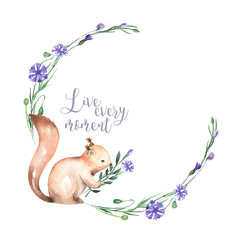 Illustration, wreath with watercolor squirrel and cornflowers, hand drawn isolated on a white background, invitation, greeting card