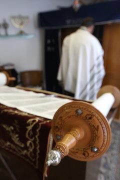 Jewish Torah scroll in a synagogue, Paris, France