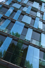Glass panels on a modern building, Moscow, Russia