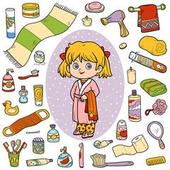 Vector color set of bathroom objects, girl and bathrobe