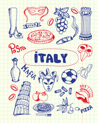 Italy associated symbols. Italian national, cultural, culinary, sportive, historical, architectural, fashion related doodles drawn on squared paper vector illustrations set. Sketched with pen icons