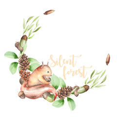 Illustration, wreath with watercolor squirrel, fir cones, oak acorns and green branches, hand drawn isolated on a white background, invitation, greeting card