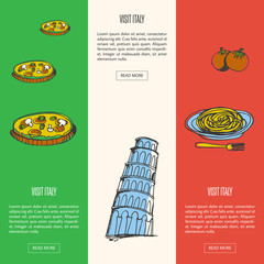 Visit Italy banners. Pizza with mushrooms, Pisa falling tower, pasta on plate with fork and tomatoes hand drawn vector illustrations on national colors backgrounds.