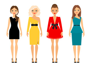 Beautiful women in different style colored dresses. Vector illustration