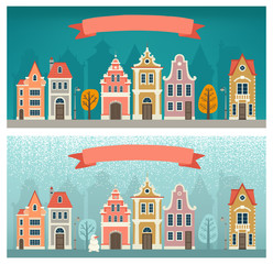 Set of banners with the cityscape. Seasons. Fall, Winter