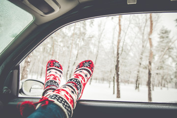 Relax holidays time concept. Weekend in the winter forest
