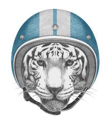 Portrait of Tiger with Vintage Helmet. Hand drawn illustration.