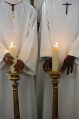Catholic altar boys holding church candles, Seine-Saint-Denis, France, Europe
