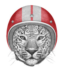 Portrait of Leopard in  Helmet. Hand drawn illustration.