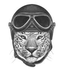 Portrait of Leopard in Vintage Helmet. Hand drawn illustration.