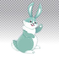 Cute rabbit cartoon waving hand. Vector illustration