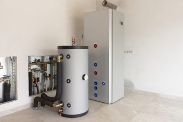 heat pump air - water in the boiler room