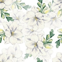 Freesia on a white background. Seamless floral pattern. Watercolor illustration. Hand-drawing