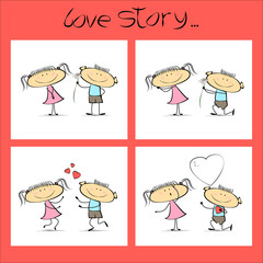 Love story, a set of illustrations for Valentine's Day. Vector cartoon sketch
