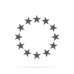The circle of gold stars on a white background.