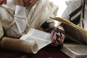 Reading the Book of Esther during Purim celebration in a synagogue, Montrouge, Hauts-de-Seine, France, Europe