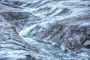 Icelandic glacier with zigzag fracture