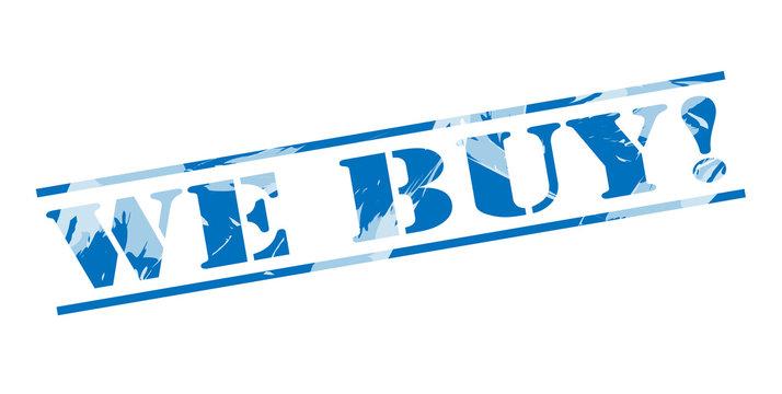 we buy! blue stamp on white background