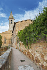 Fototapete - cathedral in Medieval Town Pienza, Tuscany, Italy.