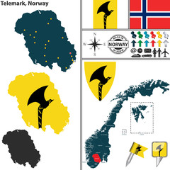Map of Telemark, Norway
