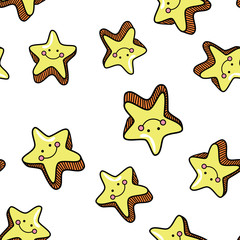 Seamless pattern with cute smiling stars on whute background.