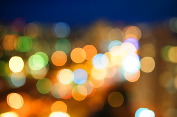 multicolored blurry lights of the night city