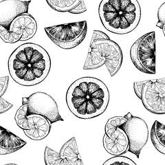 VEctor seamless pattern of citrus fruits. Orange, lemon, lime and bloody orange slices. white background.