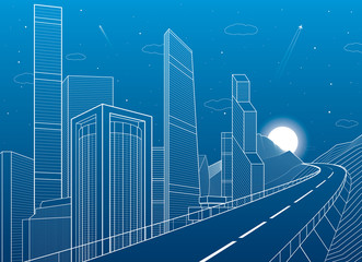 Highway in mountains. Tower and skyscrapers, neon city and business buildings, night scene, white lines on blue background, vector design art