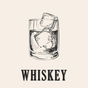Whiskey Glass. Hand Drawn Drink Vector Illustration