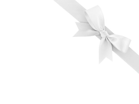white ribbon with bow isolated on white background, for simple decoration and add beauty to gift box