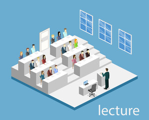 Isometric flat 3D concept vector interior university auditorium.