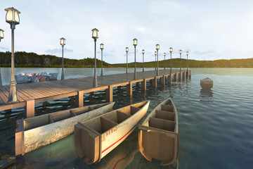 3d rendering wood pier near sea and nice mountain view with retro boat