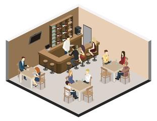 Isometric 3D flat interior of bar or pub.