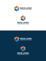 oil and gas industry logo, abstract hexagon, orange, blue and gray colors