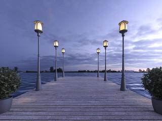 3d rendering wood pier near sea with lamp post in twilight scene