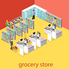 Isometric interior of grocery store.