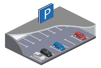 Isometric flat 3D concept vector underground parking with cars.