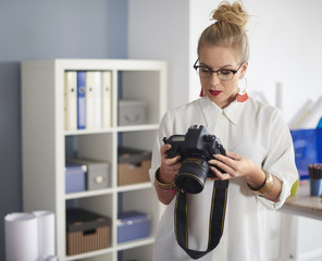 Shot of focus woman preparing for job