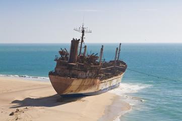 Stranded ship on beach of Cap Blanc, Nouadhibou, Mauritania