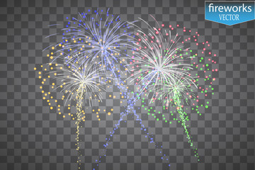 Fireworks, Salute on a Transparent Background Realistic Vector illustration for Your Design EPS10